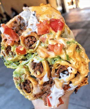 Ground Beef Burrito stuffed with Taquitos, Guac, and Queso: Ground Beef Burrito stuffed with Taquitos, Guac, and Queso