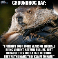 """GROUNDHOG DAY  LOUDER  CROWDERCOM  """"I PREDICT FOUR MORE YEARS OF LIBERALS  BEING VIOLENT HATEFUL BULLIES. JUST  BECAUSE THEY LOSTAFAIR ELECTION.  THEYRE THE NAZIS THEY CLAIMTO HATE!"""" ~ Hollie"""