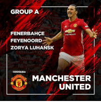 Memes, Manchester United, and United: GROUP A  FENERBAHCE  CHE/ROLET  FEYENOORD  ZORYA LUHANSK  BODDSbible  CHES  MANCHESTER  UNITED  NITED ManchesterUnited EuropaLeague Group