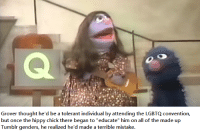 """Tumblr, Thought, and Bertstrips: Grover thought he'd be a tolerant individual by attending the LGBTQ convention,  but once the hippy chick there began to """"educate"""" him on a  of the made up  Tumblr genders, he realized he'd made a terrible mistake."""