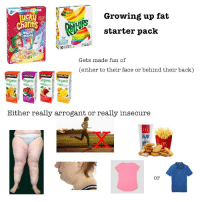 Magical Unicorn: Growing up fat  starter pack  Charnis  MAGICAL  UNICORN  NO  Gets made fun of  (either to their face or behind their back)  KIRKLAND  KIRKLAND  KIRKLAND  anic OrgacOrganicOrganic  Either really arrogant or really insecure  or