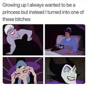 Dank, Growing Up, and True: Growing up I always wanted to be a  princess but instead I turned into one of  these bitches It's true