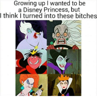 Disney, Growing Up, and Memes: Growing up I wanted to be  a Disney Princess, but  l think I turned into these bitches