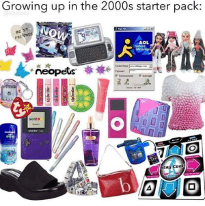 2000.: Growing up in the 2000s starter pack:  @eliledaily  NOW  - BE ST  FRI ENDS  urs TICALL  AOL  Instant  Messengei  Soten Name  ideen com  *ñeopets  Fatwad  P Save pariword  OldApp  GAMEB  CAME BOr LO  Stay Cool 2000.