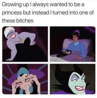 Funny, Growing Up, and Memes: Growing up l always wanted to be a  princess but instead I turned into one of  these bitches SarcasmOnly