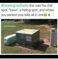 "Chill, Growing Up Black, and Memes:  #GrowingUpGhetto this was the chill  spot, ""base"", a hiding spot, and where  you parked your bike all in one  IG: @TAYVONTAE Someone game share xb1 2k17 or 18 (when it come out) pls 😓 growingupblack growingupghetto"