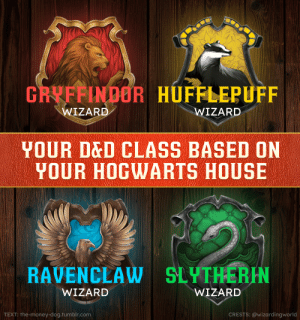 You're a wizard! You're a wizard! Everybody's a wizard!: GRYFFINDOR HUFFLEPUFF  WIZARD  WIZARD  YOUR DED CLASS BASED ON  YOUR HOGWARTS HOUSE  RAVENCLAW SLYTHERIN  WIZARD  WIZARD  TEXT: the-money-dog.tumblr.com  CRESTS: @wizardingworld You're a wizard! You're a wizard! Everybody's a wizard!