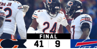 FINAL: @ChicagoBears dominate in Buffalo! #CHIvsBUF  #DaBears https://t.co/KDMel6Pi1S: GS  24  FINAL  41 9 FINAL: @ChicagoBears dominate in Buffalo! #CHIvsBUF  #DaBears https://t.co/KDMel6Pi1S