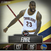 Cavs, Kevin Love, and Kyrie Irving: GS LEADS 3-1  CAVALIERS  FINAL [FINAL] Cavs force Game 5, defeat the Warriors, 137-116! Kyrie Irving: 40pts, 7reb, 4ast, 1stl LeBron James: 31pts, 11ast, 10reb, 1stl Kevin Love: 23pts, 5reb, 2stl, 1blk HIGHLIGHTS: bit.ly-ClutchPoints Cavs Warriors NBAFinals