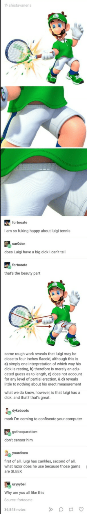 Big Dick, Work, and Computer: Gshistavanens  fortooate  i am so fuking happy about luigi tennis  carOden  does Luigi have a big dick I can't tell  fortooate  that's the beauty part  some rough work reveals that luigi may be  close to four inches flaccid, although this is  a) simply one interpretation of which way his  dick is resting, b) therefore is merely an edu-  cated guess as to length, c) does not account  for any level of partial erection, & d) reveals  little to nothing about his erect measurement  what we do know, however, is that luigi has a  dick. and that? that's great.  dykeboots  mark I'm coming to confiscate your computer  gothseparatism  don't censor him  yourdisco  first of all. luigi has cankles, second of all,  what razor does he use because those gams  are SLEEK  uryyybel  Why are you all like this  Source: fortooate  36,848 notes The Science of Luigis Bulge