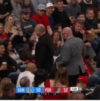 "Memes, Wshh, and Blazers: GSW 50 POR  52  1:33 24  SECOND QTR  TO 4 FLS 4TO 5 FLS 1 Repost: @BleacherReport-"" KD exchanges words with a Blazers fan sitting courtside, blows him kisses as he gets kicked out"" 🏀😳😂 WSHH"