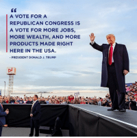 Jobs, Trump, and Usa: GT  A VOTE FOR A  REPUBLICAN CONGRESS IS  A VOTE FOR MORE JOBS,  MORE WEALTH, AND MORE  PRODUCTS MADE RIGHT  HERE IN THE USA  PRESIDENT DONALD J. TRUMP Vote Republican for more JOBS, more WEALTH, and more products made right here in the USA. That's what we want! vote.donaldjtrump.com
