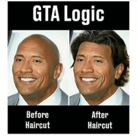 Funny, Haircut, and Logic: GTA Logic  Before  Haircut  After  Haircut Just growing out the hair in 2 sec, np. It's logical. 🙃 . gaming pc funny memes gamingmemes instagaming instagamer gamer gamers console xbox playstation xboxone playstation4 ps4 singleplayer game nintendo ps2 playstation2 multiplayer razer steelseries gamerlife pcmasterrace videogames pcmr