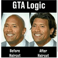 Haircut, Logic, and Lol: GTA Logic  Before  Haircut  After  Haircut The Rock with hair is a weird sight lol ➖ Check Out The Homies! ➖ @bunnyrages ➖ @itsiihades @glizzly_ ➖ @exitz_ @gamersbanter ➖ @mr.aloharice @bloodransom ➖ @xoprettynpinkxo @senseisdarksiders ➖ @lil_twink__ ➖ CoD CallOfDuty VideoGames Nintendo Xbox XboxOne PlayStation PS4 Meme SacredxPhoenix BO3 BlackOps BlackOps3 GamerMeme InfiniteWarfare CoD4 CallOfDuty4 CoDMeme GamingClip Gamer BO3 BlackOps3 VideoGameMeme Gaming Games Game