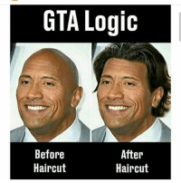 Dank, Funny, and Haircut: GTA Logic  Before  Haircut  After  Haircut Went bed at 5 and got up at 11 so tired * 😏Follow if you're new😏 * 👇Tag some homies👇 * ❤Leave a like for Dank Memes❤ * Second meme acc: @cptmemes * Don't mind these 👇👇 Memes DankMemes Videos DankVideos RelatableMemes RelatableVideos Funny FunnyMemes memesdailybestmemesdaily gta Codmemes roblox robloxmemes Meme InfiniteWarfare Gaming gta5 bo2 IW mw2 Xbox Ps4 Psn Games VideoGames Comedy Treyarch sidemen sdmn