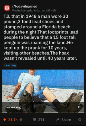 Prank, Shoes, and Beach: gtr/todayilearned  Posted by u/darkstar_randil . 6h  TIL that in 1948 a man wore 30  pound,3 toed lead shoes and  stomped around a Florida beach  during the night.That footprints lead  people to believe that a 15 foot tall  penguin was roaming the land.He  kept up the prank for 10 years,  visiting other beaches.The hoax  wasn't revealed until 40 years later.  Learning  hoaxes.org  t 21.1k  Share  271 watta madlad