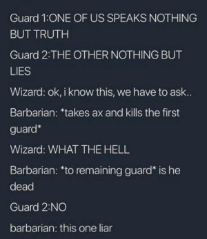 DD stories: Guard 1ONE OF US SPEAKS NOTHING  BUT TRUTH  Guard 2:THE OTHER NOTHING BUT  LIES  Wizard: ok, i know this, we have to ask..  Barbarian: *takes ax and kills the first  guard*  Wizard: WHAT THE HELL  Barbarian: *to remaining guard* is he  dead  Guard 2:NO  barbarian: this one liar DD stories