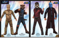 "News, Superhero, and Tumblr: GUARDIANS  GALAYY  MUSCLE  CHEST  MUSCLE  CHEST  musc  630782  DELUXE  GROOT  Padded jumpsuit with  shoe covers and mask  Child sizes S, M&L  630781  DELUXE  ROCKET RACCOON  Padded jumpsuit with fakke fur, tail  and shoe covers, and mask  Child sizes: S M & L  630780  DELUXE  STAR-LORD  Padded jumpsuit with  boat tops and mask  Child sizes: S, M &L  630779  DELUXE  YONDU  Paddad jumpsuit with  attached co0ξ and boot  tops, and mask.  Child sires: S. M &L  18  19  3017 MAVIL <p><a href=""http://superhero-news.tumblr.com/post/157375237657/these-licensed-guardians-of-the-galaxy-vol-2"" class=""tumblr_blog"">superhero-news</a>:</p>  <blockquote><p>These licensed Guardians of the Galaxy Vol. 2 costumes are the stuff of nightmares. Enjoy!</p></blockquote>"