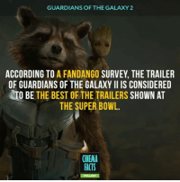 """Memes, Fandango, and Guardians of the Galaxy: GUARDIANS OF THE GALAXY 2  ACCORDING TO  A FANDANGO SURVEY THE TRAILER  OF GUARDIANS OF THE GALAXY ll IS CONSIDERED  TO BE  THE BEST OF THE TRAILERS  SHOWN AT  THE SUPER BOWL.  CINEMA  FACTS  FOLLOW GOTG VOL 2 looks freaking amazing! Marvel has considered all of the claims of dullness and boredom pictures. Seriously guys, now the picture has become brighter, black colors become black. You can even watch a video essay on the subject - https:-youtu.be-hpWYtXtmEFQ""""Why Do Marvel's Movies Look Kind of Ugly?"""" In YouTube — Follow @cinfacts (me) for more cool facts — guardiansofthegalaxy gotg gotgvol2 chrispratt iamgroot groot vindiesel rocketraccoon bradleycooper gamora zoesaldana drax bautista marvel mcu avengers disney superhero cinema_facts marvelmovies Groot MarvelStudios Marvel MCU DoctorStrange ThorRagnarok"""
