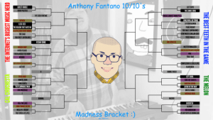 I made a Fantano 10/10's Madness Bracket!: GUEST HOUSE  HOOD POLITICS  Anthony Fantano 10/10's  THE LORDS SONG  OXYGE  LESS SEX  THE REASON THEY HATE ME  A LITTLE GOD IN MY HANDS  THE CAGE  FORFREE?(INTERLUDE) :  LONG ROAD, NO TURNS  FOR SALE? INTERLUDE)  HOW MUCH A DOLLARCOST  THESE WALLS  C  OCEAN SONG  SHE LOVES US  INSTITUTIONALIZED  BRING THE SUN/TOUSSAINT L'OUVERTURE  FIRE  SCREEN SHOT  THE BLACKER THE BERRY  EBORN  JUST A LITTLE BOY (FOR CHESTER BURNETT  COMPLEXION (A ZULU LOVE)  ECU  TO BE KIND  MORTAL MAN  KING KUNTA  THE FLAMMABLE MAN  CUDI MONTAGE  CITY SONG  KIDS SEE GHOSTS  SATAN IN THE WAIT  MOMMA  FEEL THE LOVE  SOME THINGS WE DO  WESLEY'S THEORY  HE FEVER (AYE AE  DAUGHTER  ALRIGHT  4TH DIMENSION  OU AINT GOTTA LIE (MOMMA SAID  Madness Bracket :)  (By TollsU7) I made a Fantano 10/10's Madness Bracket!