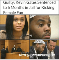 A jury of six women convicted KevinGates after a day of testimony, finding him guilty of battery after he was seen kicking a female fan during a concert in Lakeland in a video that went viral - FULL STORY- VIDEO AT PMWHIPHOP.COM LINK IN BIO FreeKevinGates @iamkevingates: Guilty: Kevin Gates Sentenced  to 6 Months in Jail for Kicking  Female Fan  83  NOW @PMWHIPHOP COM  6:05 83 A jury of six women convicted KevinGates after a day of testimony, finding him guilty of battery after he was seen kicking a female fan during a concert in Lakeland in a video that went viral - FULL STORY- VIDEO AT PMWHIPHOP.COM LINK IN BIO FreeKevinGates @iamkevingates