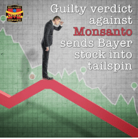 Who, besides Monsanto's lawyers, didn't think the decision handed down by the judge on Monday was good news? Monsanto's new owner, Bayer. ➡️ https://orgcns.org/2PU5lb3: Guilty verdict  against  Monsanto  sends Bayer  stock into  tailspin  MILLIONS  GAINST  MONSANTO Who, besides Monsanto's lawyers, didn't think the decision handed down by the judge on Monday was good news? Monsanto's new owner, Bayer. ➡️ https://orgcns.org/2PU5lb3