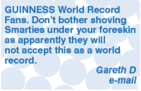 Apparently, Memes, and Smarties: GUINNESS World Record  Fans. Don't bother shoving  Smarties under your foreskin  as apparently they will  not accept this as a world  record  Gareth D  e-mail