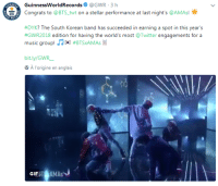 "Gif, Music, and Tumblr: GuinnessWorldRecords@GWR 3 h  Congrats to @BTS-twt on a stellar performance at last night's @AMAs!  ー  #DYK? The South Korean band has succeeded in earning a spot in this year's  #GwR2018 edition for having the world's most @Twitter engagements for a  music group! .Zw: #BTSAMAs 11  bit.ly/GWR  A l'origine en anglais  GIF İT IAsJ <p><a href=""https://mimibtsghost.tumblr.com/post/167716310328/bts-did-that-bts-broke-a-guinness-world-records"" class=""tumblr_blog"">mimibtsghost</a>:</p><blockquote><p>BTS DID THAT! <b>BTS BROKE A GUINNESS WORLD RECORDS</b> YESTERDAY!</p></blockquote>"