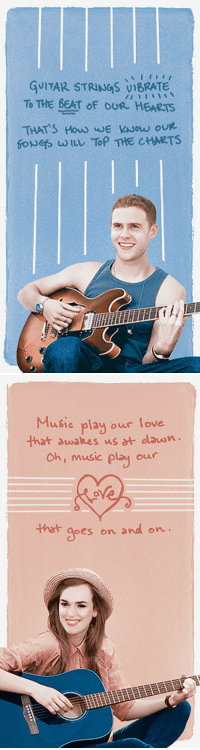 Love, Music, and Tumblr: GUITAR STRINGS viBRATe  To THE BEAT oF OUR HERRTS  THAT'S HouD JE KAsow our  gove s uouレTOP THE CHARTS  i/   Musie play our love  That awakes us at lasn  Ch, music play ouur  apes on and on writeonthrough: fitzsimmons + indie band au10/?Summer Aesthetic/Song LyricsGraphics By @cardb0rdeaux/original song lyrics by @writeonthrough