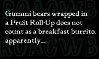 Apparently, Memes, and Bears: Gummi bears wrapped in  a Fruit Roll-Up does not  count as a breakfast burrito.  apparently *Sparky*