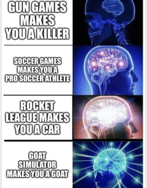 Old meme format: GUN GAMES  MAKES  YOUAKILLER  SOCCER GAMES  MAKESYOUA  PROSOCCERATHLETE  ROCKET  LEAGUEMAKES  YOUA CAR  GOAT  SIMULATOR  MAKES YOUA GOAT Old meme format