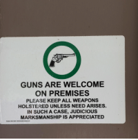 Guns, Memes, and Appreciate: GUNS ARE WELCOME  ON PREMISES  PLEASE KEEP ALL WEAPONS  HOLSTERED UNLESS NEED ARISES.  IN SUCH A CASE, JUDICIOUS  MARKSMANSHIP IS APPRECIATED ΜΟΛΩΝ ΛΑΒΕ!