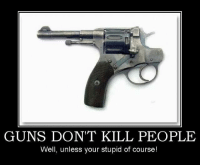 Protected by the 2nd Amendment.: GUNS DONT KILL PEOPLE  Well, unless your stupid of course! Protected by the 2nd Amendment.