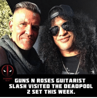 GUNS N ROSES GUITARIST  SLASH VISITED THE DEADPOOL  2 SET THIS WEEK  RCT You think he'll have a cameo? 🤔😎💪 • • • • Follow @deadpoolfacts for your daily Deadpool dose. 👇👇👇👇 @vancityreynolds 🙌 wadewilson marvelnation driveby q dc fox movies deadpool marvel deadpool2 hahaha lmfao heh