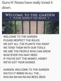 Guns, Money, and Respect: Guns N' Roses have really toned it  down.  WELCOME TO THE GARDEN  PLEASE RESPECT THE RULES  WELCOME TO THE GARDEN  PLEASE RESPECT THE RULES  WE GOT ALL THE PLANTS YOU WANT  WE TEND THEM WITH OUR TOOLS  WE ARE THE PEOPLE WHO CAN GROW  WHATEVER YOU MAY NEED  IF YOU'VE GOT THE MONEY, HONEY  WE'VE GOT YOUR DAISIES  GARDEN, WELCOME TO THE GARDEN  WATCH IT BRING IN ALL THE.  SHA-NA-NA-NA-NA-NA BEES, BEES
