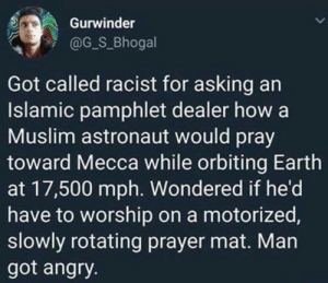A valid question: Gurwinder  @G_S_Bhogal  Got called racist for asking an  Islamic pamphlet dealer how a  Muslim astronaut would pray  toward Mecca while orbiting Earth  at 17,500 mph. Wondered if he'd  have to worship on a motorized,  slowly rotating prayer mat. Man  got angry. A valid question