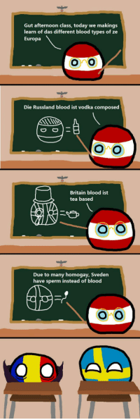 """Club, Tumblr, and Blog: Gut afternoon class, today we makings  learn of das different blood types of ze  Europa  oro  Die Russland blood ist vodka composed  Britain blood ist  tea based  Due to many homogay, Sveden  have sperm instead of blood  ONO <p><a href=""""http://laughoutloud-club.tumblr.com/post/166286004254/poor-romania"""" class=""""tumblr_blog"""">laughoutloud-club</a>:</p>  <blockquote><p>Poor Romania</p></blockquote>"""
