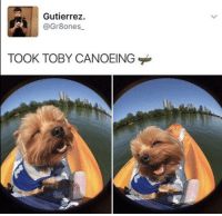 Funny, Good, and Happy: Gutierrez  @Gr8ones  TOOK TOBY CANOEING WHAT A GOOD HAPPY BOY