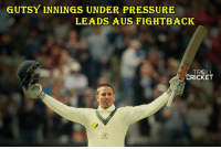 Memes, Pressure, and Troll: GUTSY INNINGS UNDER PRESSURE  LEADS AUS FIGHT BACK  TROLL  CRICKET Usman Khawaja hit his 5th test century. Australia lead by 48 runs.  <Googly>