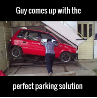 This guy is a bona fide genius 🙌😂  via ViralHog: Guy comes up with the  ViralFaa  perfect parking solution This guy is a bona fide genius 🙌😂  via ViralHog