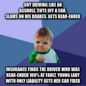 Anaconda, Driving, and Information: GUY DRIVING LIKE AN  ASSHOLE, CUTS OFF A CAR,  SLAMS ON HIS BRAKES, GETS REAR-ENDED  INSURANCE FINDS THE DRIVER WHO WAS  REAR-ENDED 100% AT FAULT, YOUNG LADY  WITH ONLY LIABILITY GETS HER CAR FIXED Why it is always important to stop and provide your information when you witness an accident