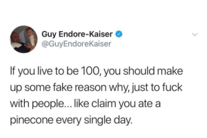 Anaconda, Fake, and Fuck: Guy Endore-Kaiser  @GuyEndoreKaiser  If you live to be 100, you should make  up some fake reason why, just to fuck  with people... like claim you ate a  pinecone every single day We've peaked