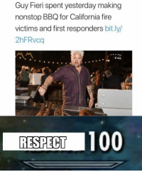 https://t.co/bAlFwy95d4: Guy Fieri spent yesterday making  nonstop BBQ for California fire  victims and first responders bit.ly/  2hFRvca  RESPECT 100 https://t.co/bAlFwy95d4