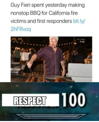 Nothing but respect for the mayor of flavortown: Guy Fieri spent yesterday making  nonstop BBQ for California fire  victims and first responders bit.ly/  2hFRvca  RESPECT 100 Nothing but respect for the mayor of flavortown