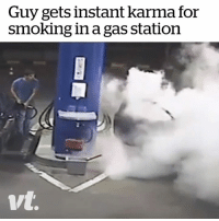 This employee wasn't playing around... Wait for it 😂: Guy gets instant karma for  smoking in a gas station This employee wasn't playing around... Wait for it 😂