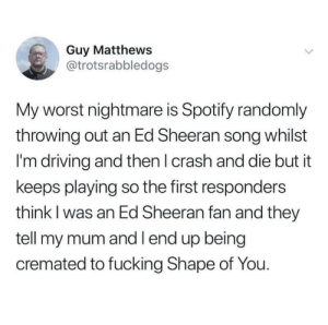 Everyone's worst nightmare.: Guy Matthews  @trotsrabbledogs  My worst nightmare is Spotify randomly  throwing out an Ed Sheeran song whilst  I'm driving and then I crash and die but it  keeps playing so the first responders  think I was an Ed Sheeran fan and they  tell my mum and l end up being  cremated to fucking Shape of You. Everyone's worst nightmare.