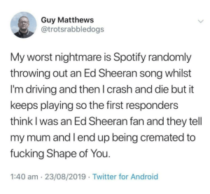 me_irl: Guy Matthews  @trotsrabbledogs  My worst nightmare is Spotify randomly  throwing out an Ed Sheeran song whilst  I'm driving and then I crash and die but it  keeps playing so the first responders  think I was an Ed Sheeran fan and they tell  my mum and I end up being cremated to  fucking Shape of You.  1:40 am 23/08/2019 Twitter for Android me_irl