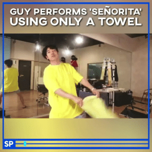 *my brain at 3am* 😂: GUY PERFORMS 'SENORITA'  USING ONLY A TOWEL  SP *my brain at 3am* 😂