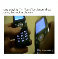 "Jason Mraz, Black Twitter, and Nokia: guy playing ""I'm Yours"" by Jason Mraz  using two nokia phones  ig: @sexualising creative"