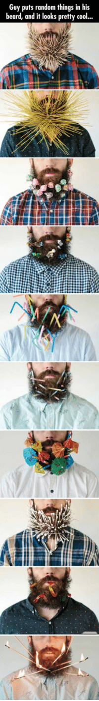 Beard, Bored, and Cool: Guy puts random things in his  beard, and it looks pretty cool... <p>When You Are Bored And Have A Beard.</p>
